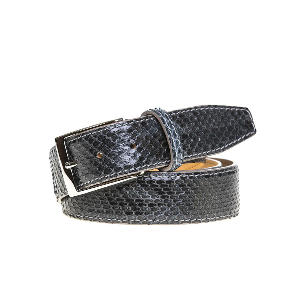Gray Python Belt - Men's Designer Belts - RogerXimenez.com