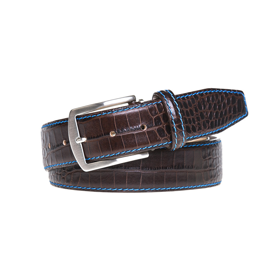 Dark Brown Mock Croc Leather Belt - Men's Designer Belts - RogerXimenez.com