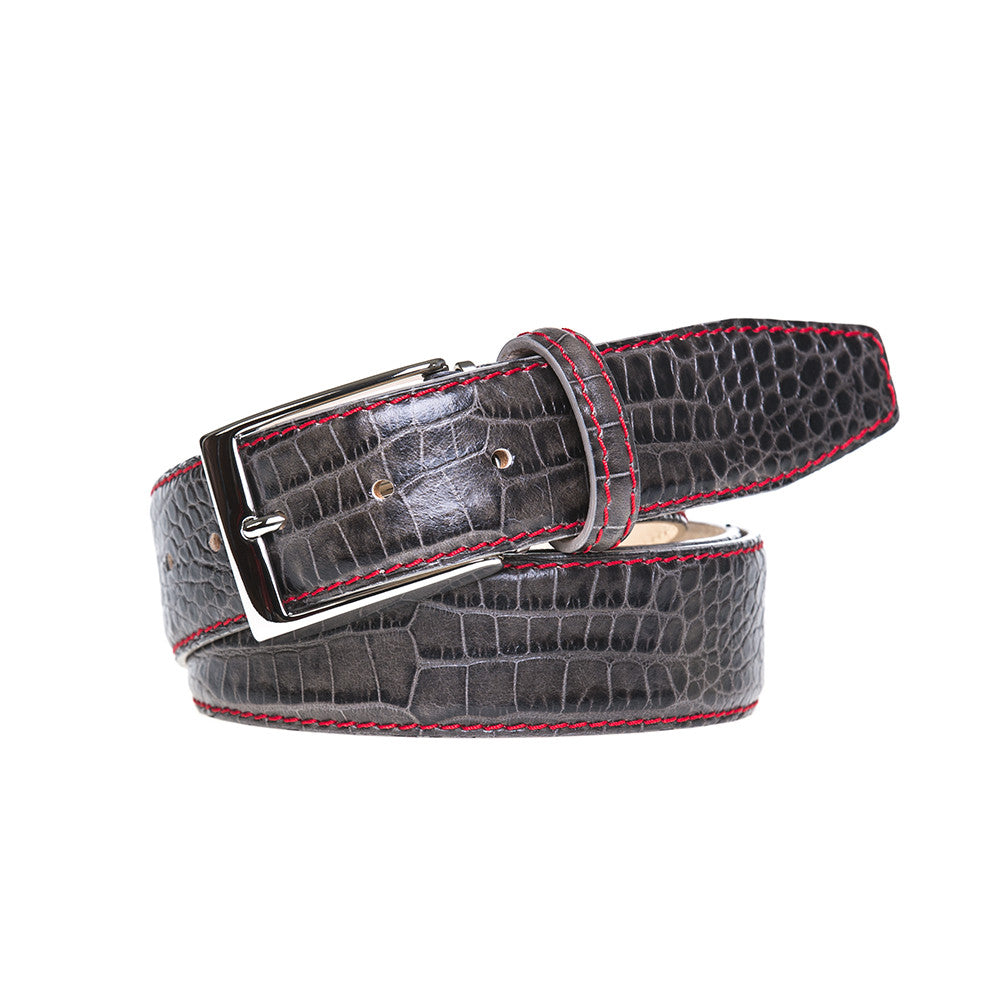 Slate Mock Croc Leather Belt - Men's Designer Belts - RogerXimenez.com