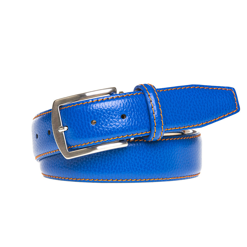 Bright Blue Italian Pebble Grain Belt - Men's Designer Belts - RogerXimenez.com