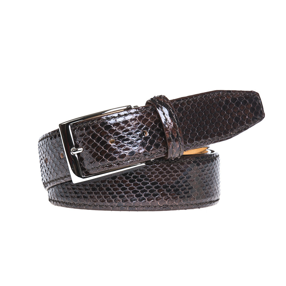 Brown Python Belt - Men's Designer Belts - RogerXimenez.com