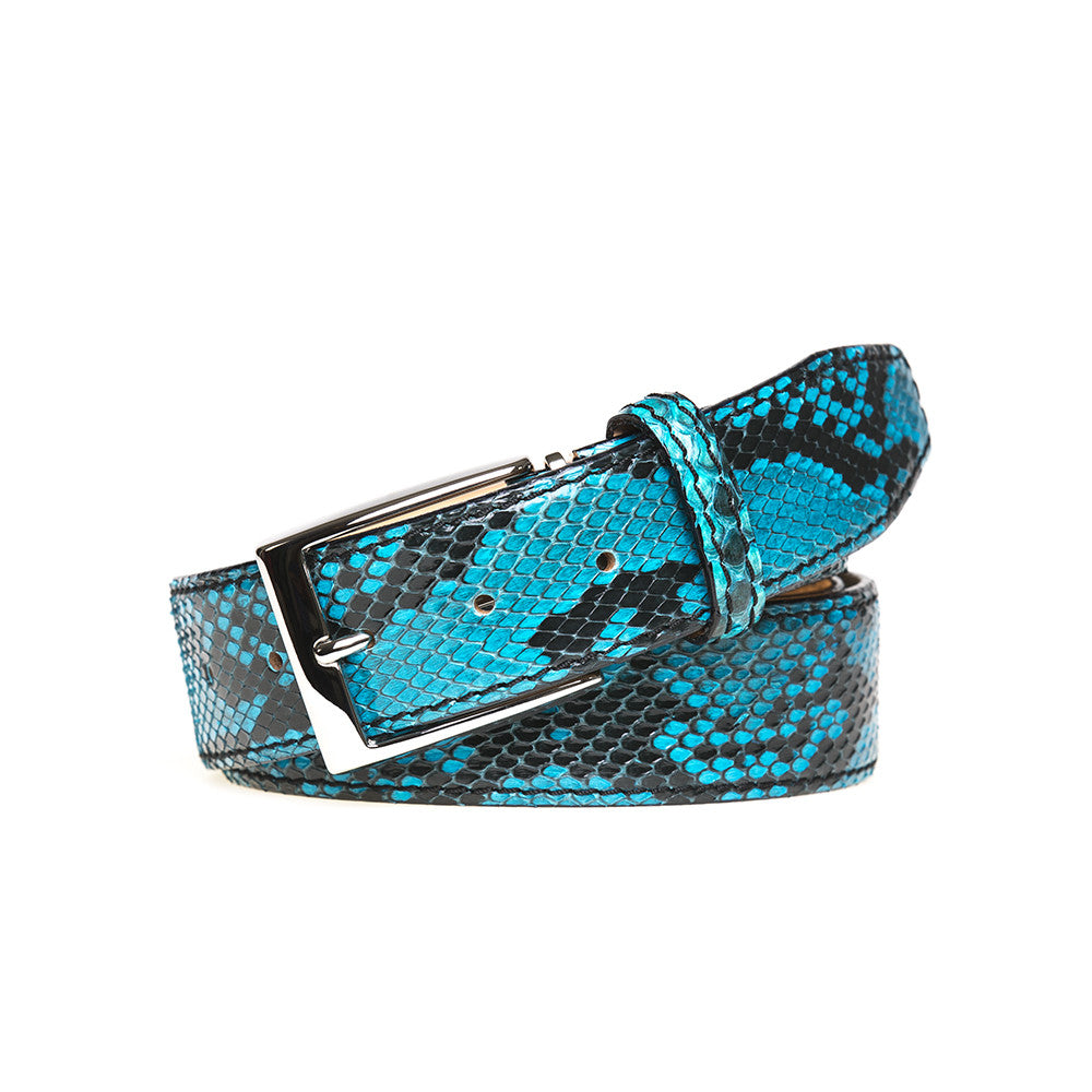 Turquoise Python Belt - 44 / 40mm / Turquoise | Mens Fashion & Leather Goods by Roger Ximenez