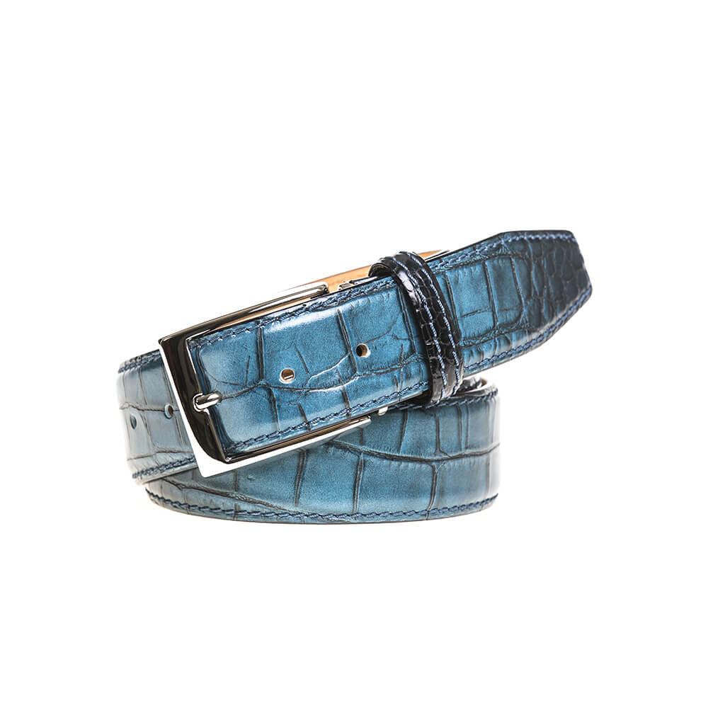 Blue Vintage Sunset Belt - Men's Designer Belts - RogerXimenez.com