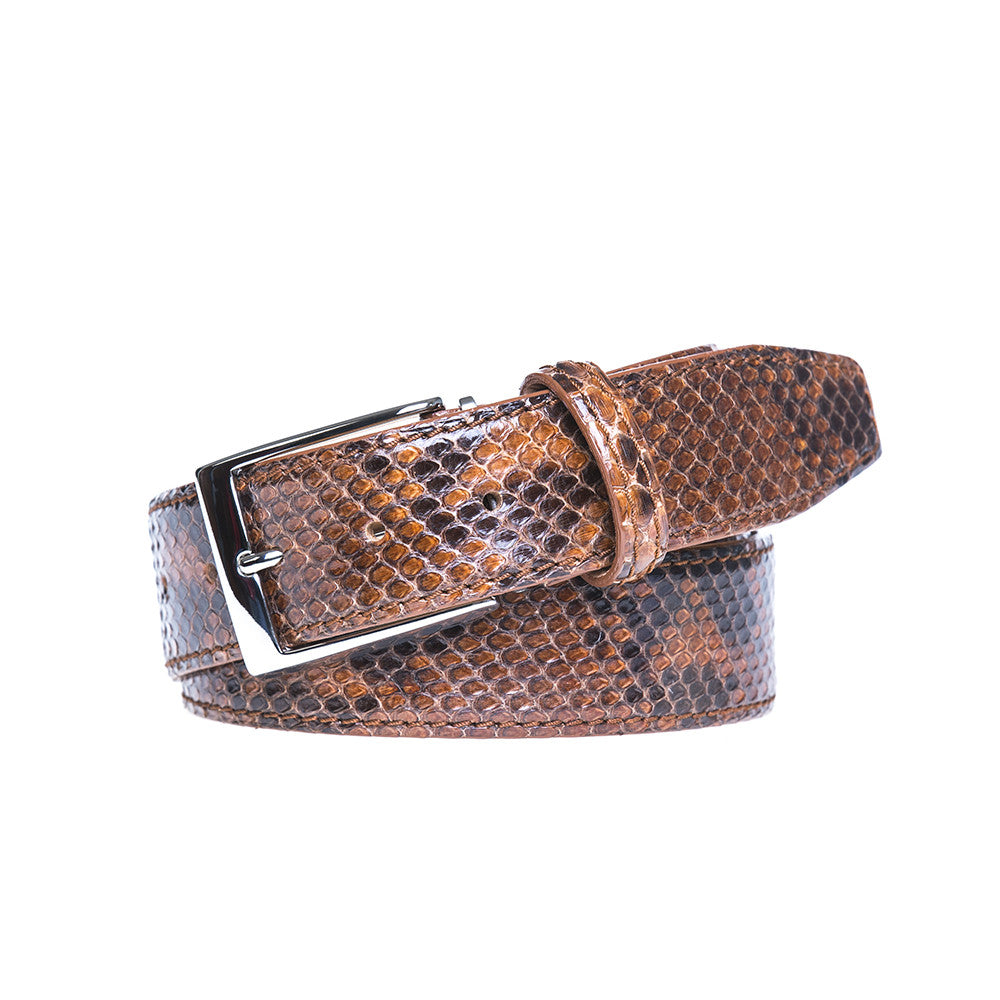 Tiger's Eye Python Belt - Men's Designer Belts - RogerXimenez.com