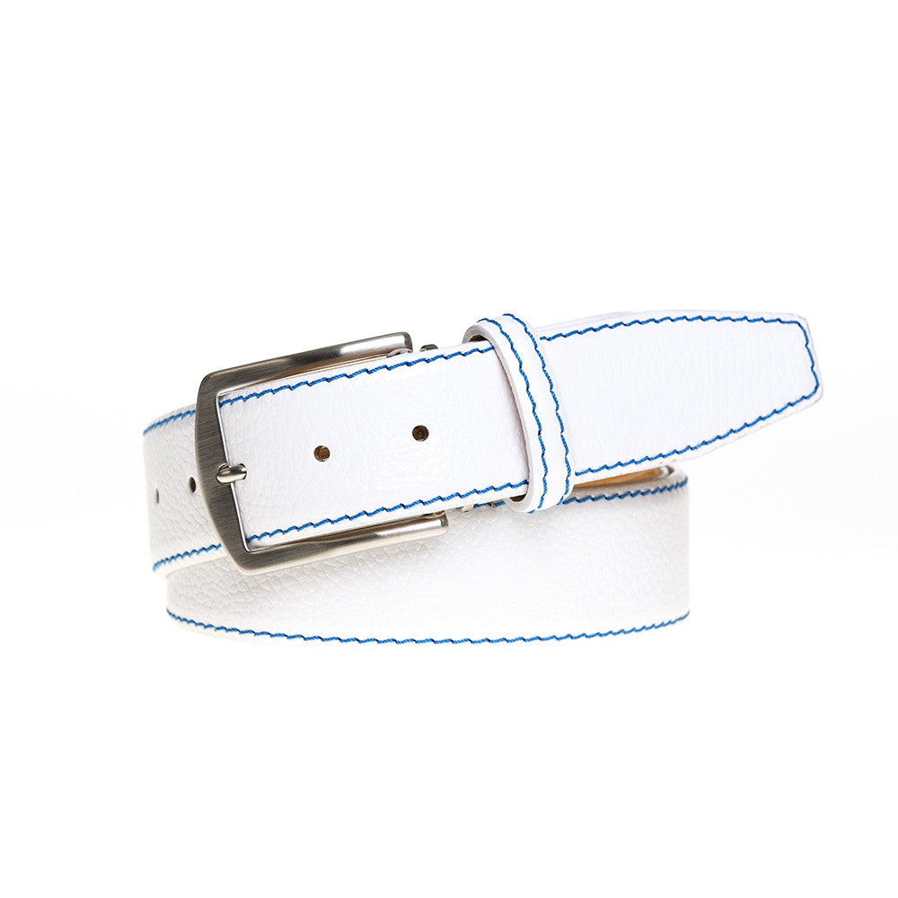 White Italian Pebble Grain Belt - Cobalt / 44 / 35mm | Mens Fashion & Leather Goods by Roger Ximenez