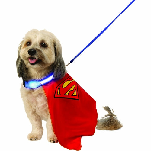 Superman Cape with Light Up Collar and Lead Pet Costume