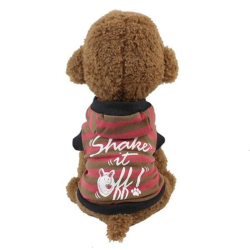 Cute Strip pet dogs Hooded T shirt Puppy dog