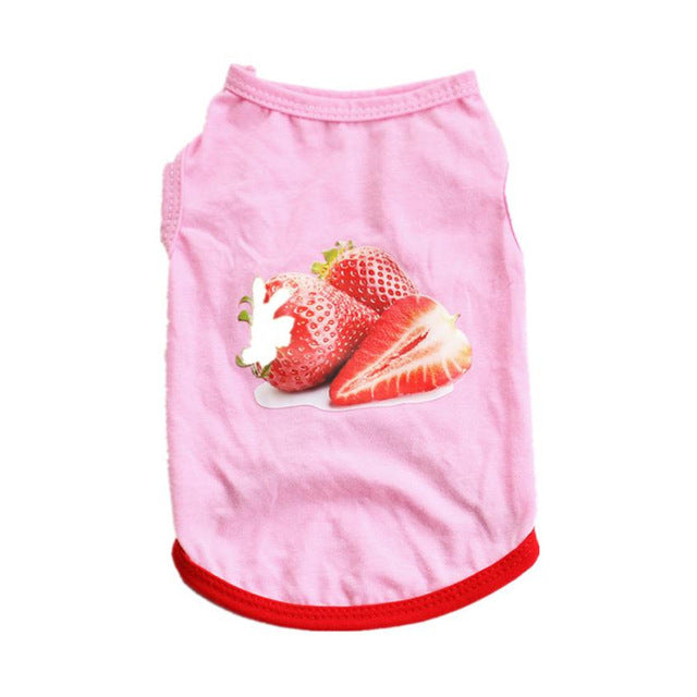 Lovely Pink Strawberry Pet Cat Dog Vest Shirt