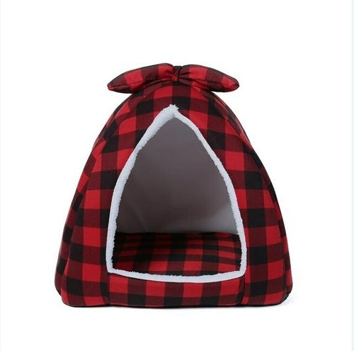 Pet Dog Beds Cat Tent Houses with Bowknot Plaid