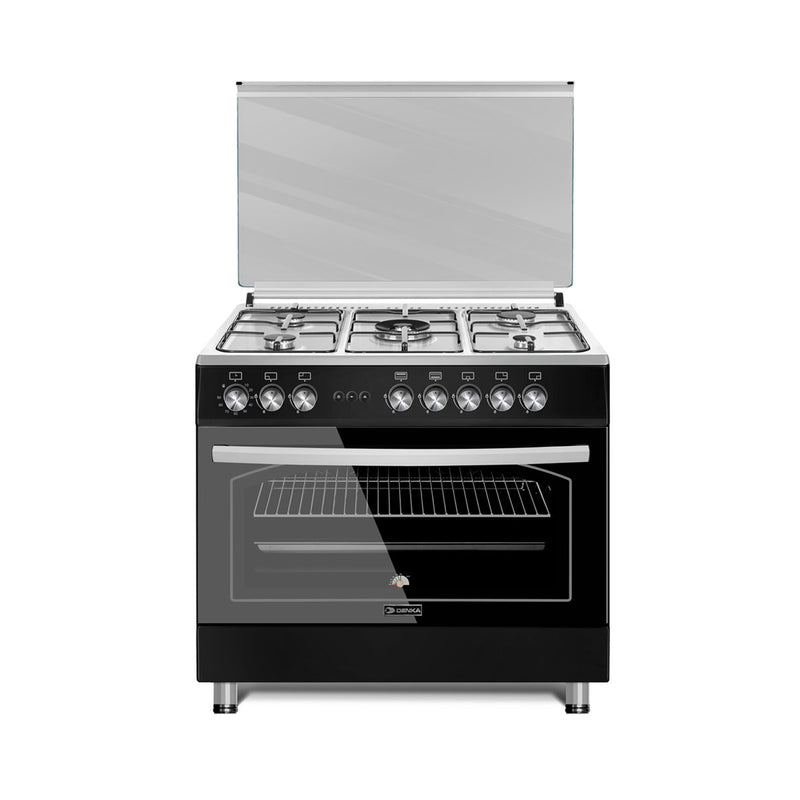 90x60 Free Standing Gas Cooker, Black Design