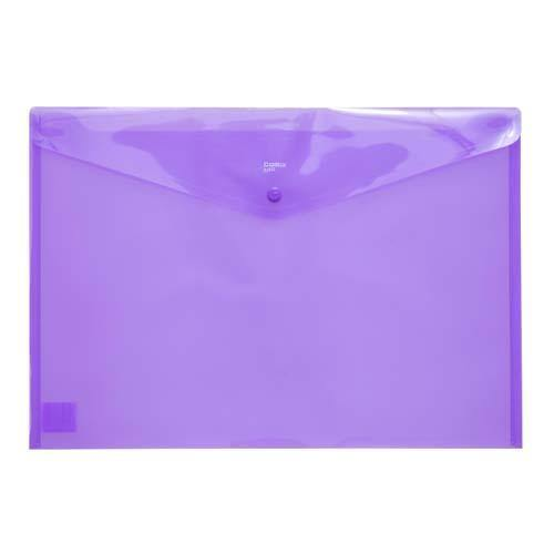 Button Envelope A3 Trsp Plastic - Purple