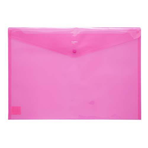 Button Envelope A3 Trsp Plastic - Red