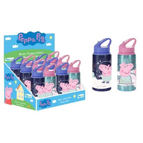 Peppa Pig Aluminium Bottle With Straw