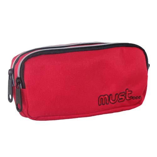 Must Monochrome 2 Zip Pencil Case Red