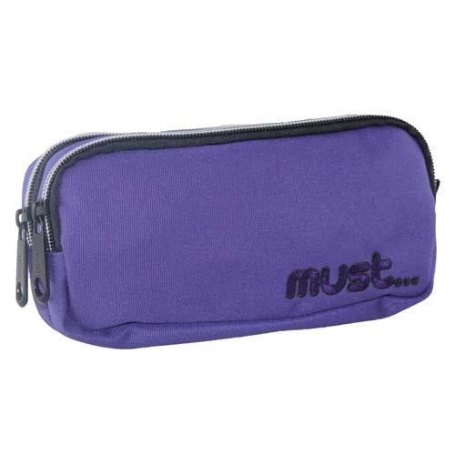 Must Monochrome 2 Zip Pencil Case Purple