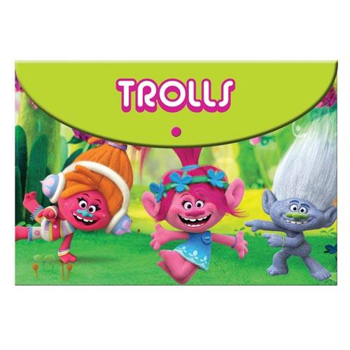 Trolls Pp Folder W/Button A4