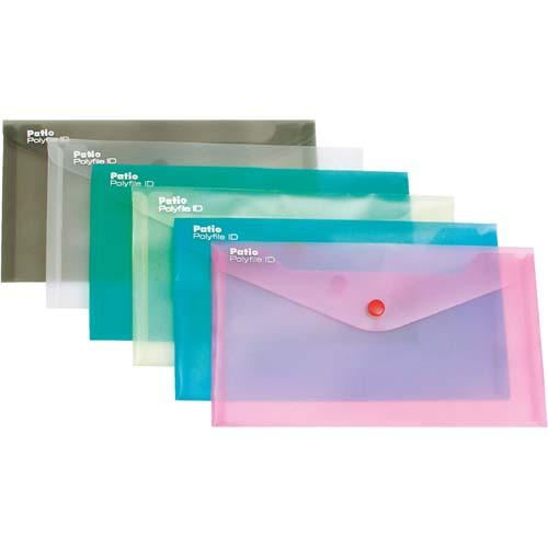 Plastic Envelope W/Button Dl Trans White