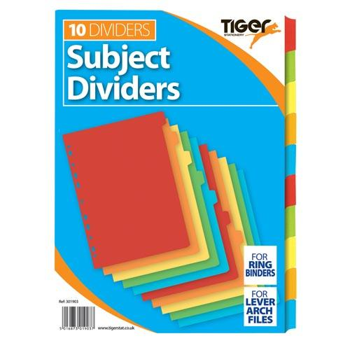 Dividers Carton A4 X 10 Clrs