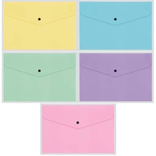 Button Envelope A4 Trsp Plastic - Assort