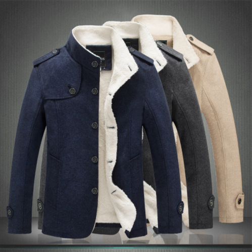 New Men Woolen Blends Fashion Winter Jacket Men Fleece