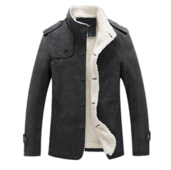 New Men Woolen Blends Fashion Winter Jacket Men Fleece Lined Overcoat Male Wool Coat Peacoat Sobretudo Masculino