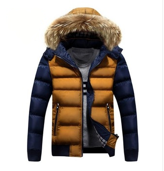 Men's Warm Hooded Down Winter Jacket 2 Tones