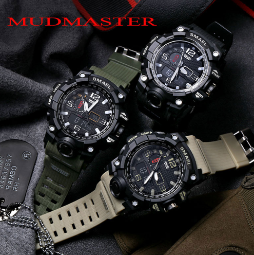 7e4a16a19 Military SMAEL Men Digital Sport Watch Clock LED Military Analog Quartz Watches  Men's Fashion waterproof Electronics