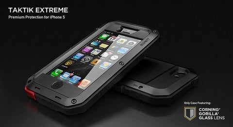 Case for iphone 4 4S 5 5S Military Aluminum Metal Waterproof Shockproof Case With Gorilla Glass