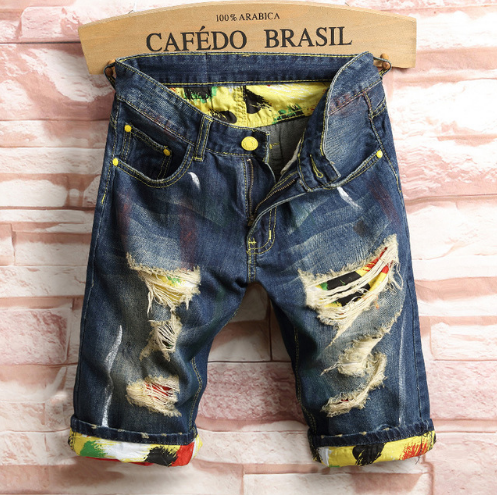 Men's Ripped Board Shorts Graffiti Slim Fit Short Jeans