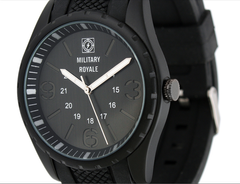 Military Royale Men's Army Style Metal Black Dial Rubber Band 24 Hours GMT Swiss Watch