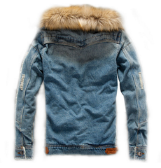 Autumn and Winter Men Casual Denim Retro Jacket Nagymaros Collar Cashmere Coat