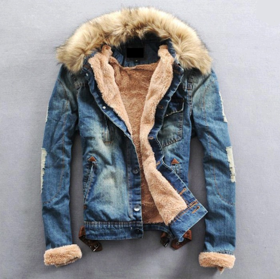 b13b95f306aa New Arrival Fashion Mens Winter Jeans Jacket with Fur Collar – WILLSTYLE