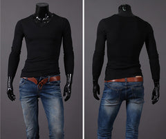Willstyle Fashion Slim Fit V-Collar Sweatshirt 3 Colors