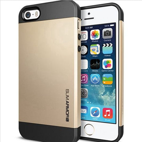 Case for iPhone 5 5S 5G for Iphone 4 4S 4G SLIM ARMOR PC+ Silicone Back Cover 9 Colors Free Shipping