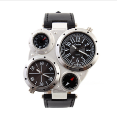OULM watch Multiple Time Zone Men sports watch Thermometer Compass decoration quartz watches