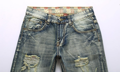 High Quality Mens Jeans Famous Ripped Brand Designer Straight Slim