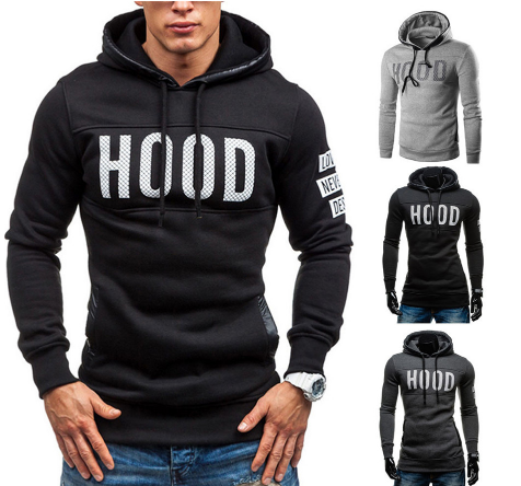 Men Winter Slim Hoodie Warm Pullover Sweatshirt