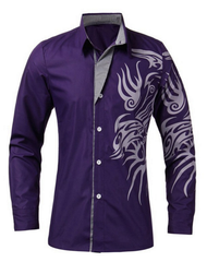 New Arrival Tribal Dragon Tattoo Dress Shirt