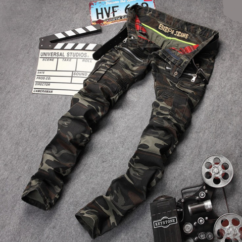 New Arrival High Quality Mens Biker Jeans Famous  Brand Designer Straight Slim