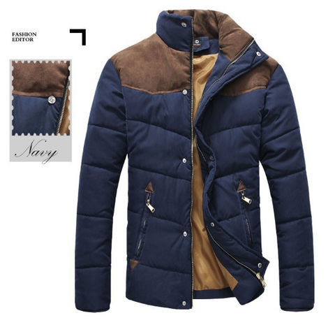 Men Winter Splicing Cotton-Padded Coat Jacket