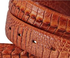 Men's Geniune Leather Crocodile Buckle 4 Colors Free Shipping
