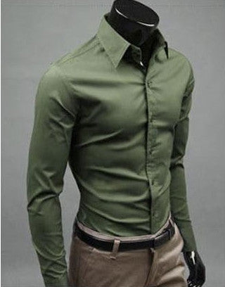 Willstyle Stylish Long Sleeve Shirt Army Green