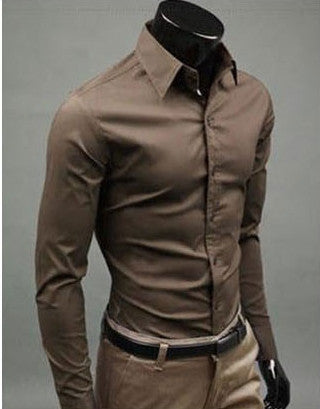 Willstyle Stylish Long Sleeve Shirt Coffee