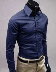 Willstyle Stylish Long Sleeve Shirt Dark Blue