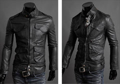 Willstyle Men's Slim Leather Jacket 3 Colors