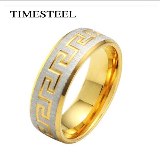 Fashion Men's Ring 18K Gold Plated Titanium 316L Stainless Steel Ring Greek Key Design Free Shipping