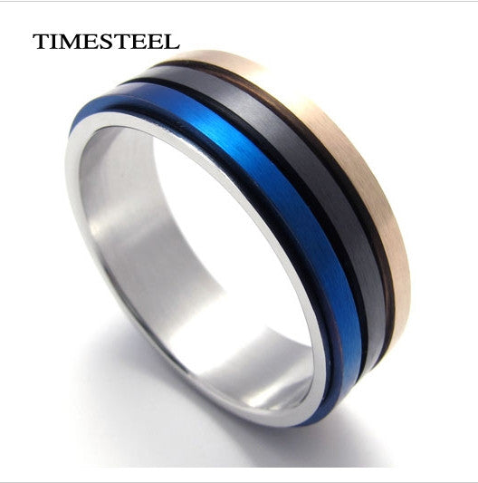 Titanium 316L Stainless Steel Ring Rotatable 3 Color Circle Fashion Men's Jewelry Free Shipping