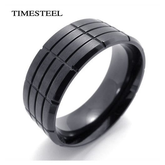 Stainless Steel Ring Grooves Design Cool Black