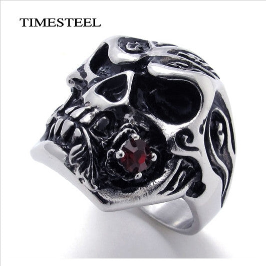 Punk / Gothic Skull Ring With Red Stone Super Cool