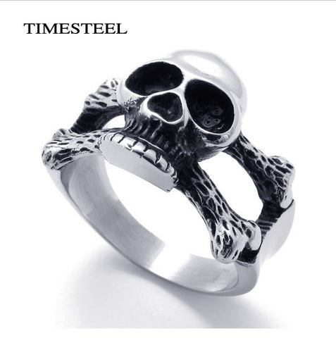 Fashion 316L Stainless Steel Punk Skull Ring Jewelry For Men Free Shipping